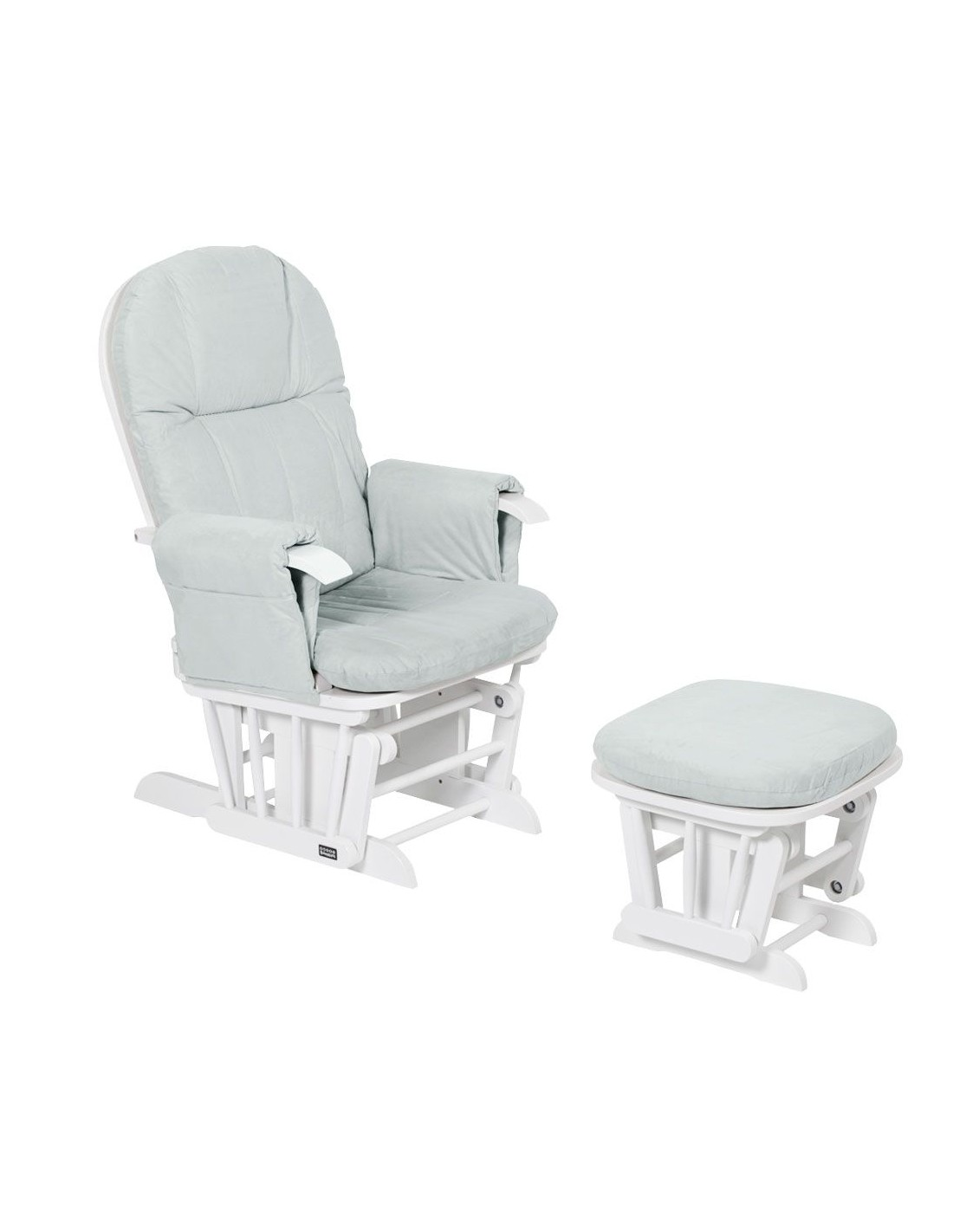Tutti Bambini Reclining Glider Chair Footstool White With Grey Cushions