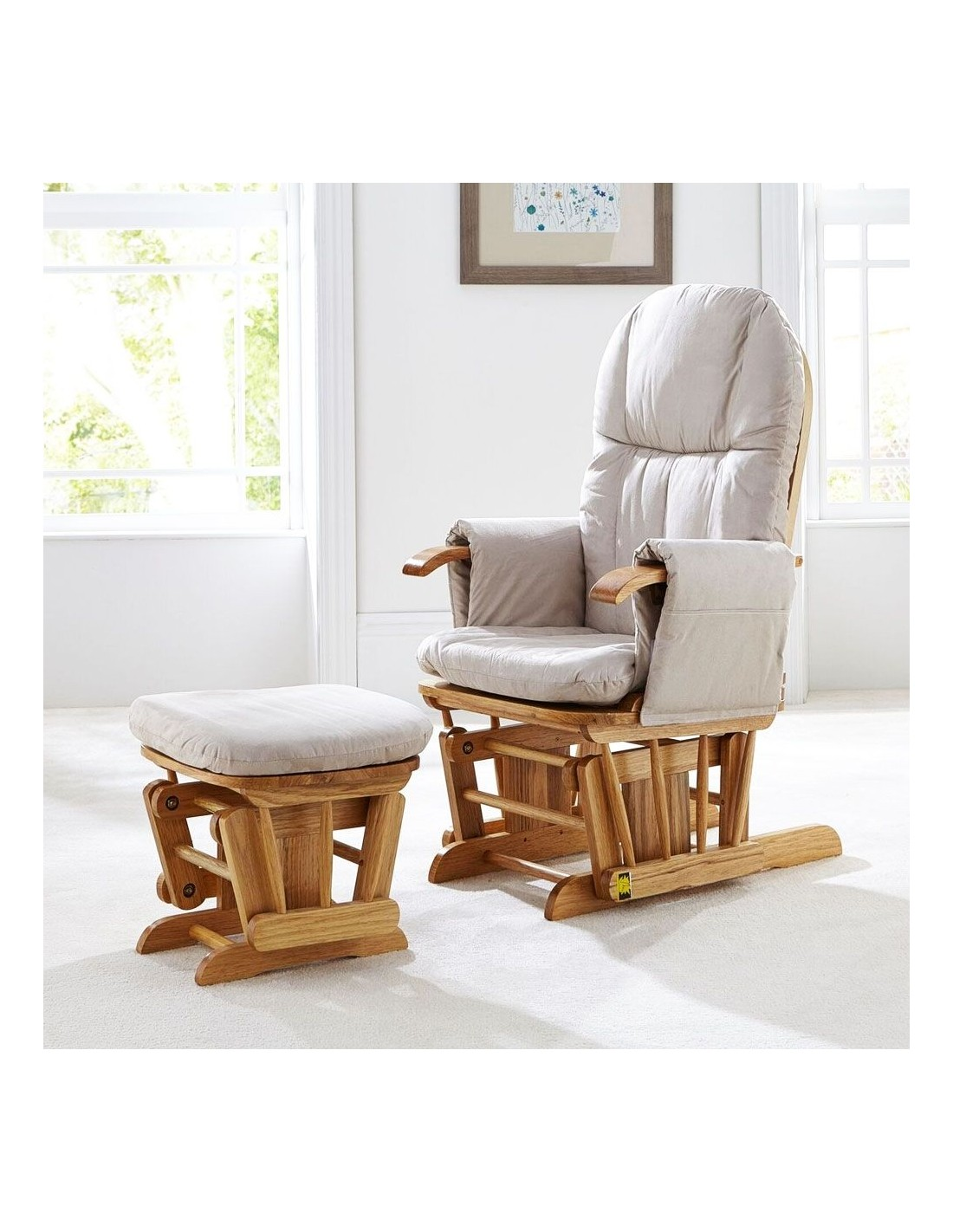 Tutti Bambini Reclining Glider Chair Footstool Natural